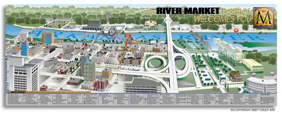 River Market Map Illustration